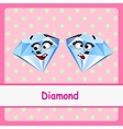 Diamond funny characters on a pink background vector image vector image