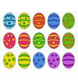 easter egg set symbol icon design spring vector image
