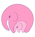 elephant with pinkbackground on mother day vector image