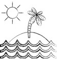 figure island with palm tree with sun and waves vector image vector image