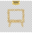 Gold glitter icon of TV screen isolated on vector image