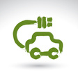 Hand drawn green eco car icon brush drawing vector image vector image