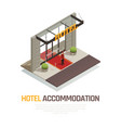 hotel accommodation isometric composition vector image vector image