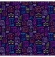 Houses Pattern Lineart Dark Big vector image vector image