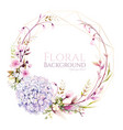 hydrangea flower with cherry blossom wreath vector image