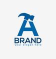letter a hammer logo flat design vector image vector image