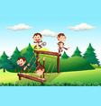 monkey playing at playground vector image vector image