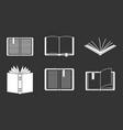 open book icon set grey vector image
