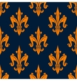 Orange fleur-de-lis floral seamless pattern vector image vector image