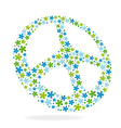 Peace sign made of flowers vector image