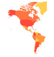 political map of americas in four shades of orange vector image vector image