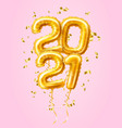 realistic 2021 gold air balloons confetti new year vector image vector image