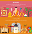 religions flat flyer set vector image vector image