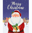 santa claus portrait christmas greeting card vector image