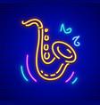 saxophone neon musical vector image