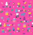 seamless pattern of flowers and gifts icons on a vector image