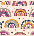 seamless pattern with beautiful rainbows on beige vector image vector image