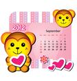 september monkey calendar vector image