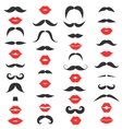 set mustache and women s red lips vector image vector image
