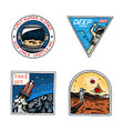 set of space logo human mission to mars vector image vector image