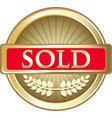 sold gold icon vector image vector image