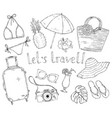summer set items for vacation and travel vector image