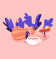 tiny male and female characters cooking and eating vector image vector image