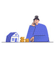 upset woman looking at small house girl vector image vector image