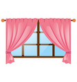 window with pink curtain vector image