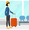 Woman at airport with suitcase vector image