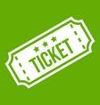 movie ticket icon green vector image