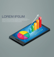 business graph mobile phone vector image