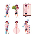 woman doctor therapist with huge medical objects vector image