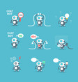 modern robots icons set chat bot artificial vector image