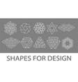 white stroke geometric shapes icons set vector image