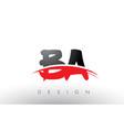 ba b a brush logo letters with red and black vector image