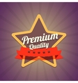 Badge with star and premium quality label on dark vector image vector image