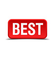 best red three-dimensional square button isolated vector image vector image