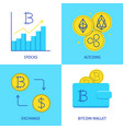bitcoin and altcoins icon set in flat style vector image vector image