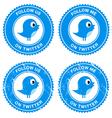 Blue bird social media follow retro labels vector image vector image