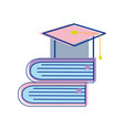 Books tools with graduation cap icon vector image