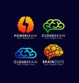 brain technology logo template brain tech icon vector image
