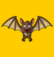 cartoon brown bat with yellow background vector image