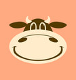 cartoon cow face flat stylefront view vector image vector image