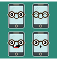 Cartoon Mobile Phone with Eyeglasses vector image vector image
