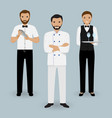 chef cook waitress in uniform and barman standing vector image vector image