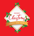 christmas template on red background vector image vector image