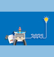 creative light bulb idea 2021 new year business vector image vector image