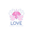 cute line logo design with love doves and diamond vector image vector image