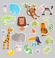 cute set of stickers of safari animals and flowers vector image